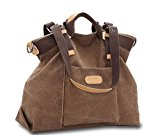 KISS GOLD(TM) Women's Casual Canvas Top-Handle Bag Shoulder Bag(Coffee)