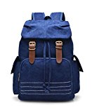 Mens Vintage Rucksack Canvas Backpack Laptop Shoulder Bag Travel Camping Hiking Blue