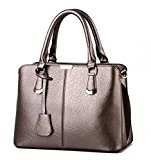 TianHengYi Womens Candy Colors Faux Leather Top-handle Handbag Shoulder Bag with Removable Long Strap Bronze