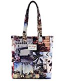 [HotStyle Fashion Printed] Vintage London Bookbag Tote for school girls, Brown
