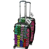 Graffiti 10031, Super Graphic, Lightweight Hard Case Luggage Spinner Travel Shell 4 Wheel Spinner Set with Exchangeable Colourful Design. Size: Cabin Approved 20
