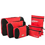 NEXTOUR Packing Cubes 3 pcs PLUS Laundry Bag Toiletry Bag and Electronics Accessories Pouch 6 set Travel Organizers for Luggage (Red)