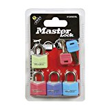 Master Lock 9120EURQCOLNOP 20mm Mixed Coloured Covered Aluminium Padlocks 4 Pack Keyed Alike