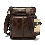 Koolertron Vintage Men's Synthetic Leather Shoulder Messenger Bags Lightweight Small Cross Body Everyday Satchel Bag Daypack (Coffee)