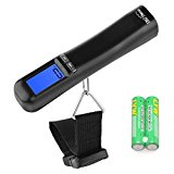 Portable Luggage Scale 110 LBS/50kg Capacity Large and Blue Backlight LCD Display, Suitcase Scale Handheld Scale Valentines Gifts Black