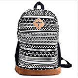Viskey Ladies Girls Floral Nationality Canvas Backpack School Bag Schoolbag Travel Backpack -Black and White