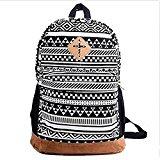 Viskey Ladies Girls Floral Nationality Canvas Backpack School Bag Schoolbag Travel Backpack -Black and White