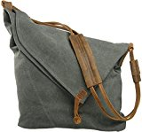 Voguees Casual Shoulder Crossbody Messenger Canvas Shopping Bags Totes Satchals Grey