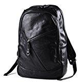 Everdoss Mens PU Leather Multifunctional Laptop Rucksack Backpack Leisure Travel Daypack Bag College School Tote Handbag for Hiking Climbing Camping