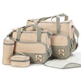 GSPStyle Women Nylon Oxford Nappy Bag Diaper Bag Changing Bag 5pcs In Pack Khaki