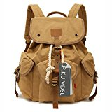 Canvas Backpack, P.KU.VDSL School backpacks, Vintage Canvas Backpack, Classic College School Laptop Backpack for Student, Casual Daypacks, Traveling Rucksack, Retro Travel Bags - Augur Series (Khaki)