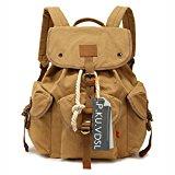 Canvas Backpack, P.KU.VDSL School backpacks, Vintage Canvas Backpack, Classic College School Laptop Backpack for Student, Casual Daypacks, Traveling Rucksack, Retro Travel Bags - Augur Series (Khaki)