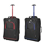 Set of 2 Super Lightweight Cabin Approved Luggage Travel Wheely Suitcase Wheeled Bags Bag Black/Red + Black / Blue