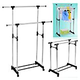2 in 1 Adustable Double Clothes Rail & Shoe Rack Hanging Garment Dress W/Wheels.