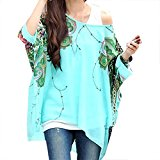 308 Bohemian Hippie Big Size Batwing Sleeve Chiffon Blouse Loose Off Shoulder Shirt