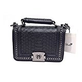 Sheli Classic Black Mini Small Quilted Leather Bronze Chain Handbag Shoulder Bag Purse