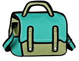 jeansian 3D Jump Style 2D Drawing From Cartoon Paper Comic Animation Satchel Bag WBH011 Green