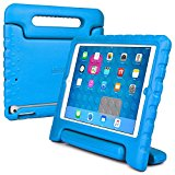 iPad Air kids case, COOPER DYNAMO Rugged Heavy Duty Children's Boys Girls Tough Bumper Rubber Drop Proof Protective Carry Case Cover + Handle, Stand & Screen Protector for Apple iPad Air Blue