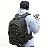 Evecase Professional Large DSLR Camera and Laptop Backpack with Rain Cover - Black for Canon, Nikon, Sony, Fujifilm, Panasonic, Pentax, Samsung, Olympus and More
