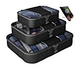 Packing Cubes - 4 pc Value Set Luggage Organizer + Bonus Shoe Bag Included - Lifetime Guarantee - By Bingonia Travel Accessories - Black