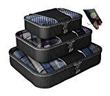 Packing Cubes - 4 pc Value Set Luggage Organizer + Bonus Shoe Bag Included - Lifetime Guarantee - By Bingonia Travel Accessories - Black