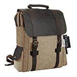 Canvas Backpack, P.KU.VDSL Laptop Backpack, Vintage Canvas Leather Backpack, Casual Daypacks, Outdoor Traveling Rucksack, Retro Travel Bags, Shoulder Bag for Men Outdoor Sports Fit 15