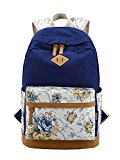 Molly Women Vintage Canvas Backpack Outdoor Camping University Schoolbag Dark Blue