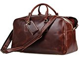 YAAGLE Genuine Leather Vintage Overnight Holdall Weekend Handbag Duffle Travel Bag for Men Women