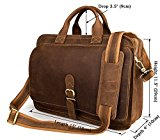 Everdoss Mens Genuine Leather Multifunctional Business Laptop Briefcase Retro Tote Handbag Casual Crossbody Shoulder Messenger Bag with Double Zipper