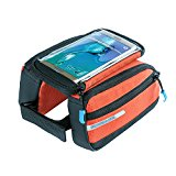 Flypro Cycling Bike Front Top Frame Bag Double Pouch Top Tube Handlebar Pannier Frame Bags for iPhone 6 Cellphone (Orange)